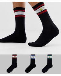 Lyle & Scott 3 Pack Logo Stripe Crew Socks In Black