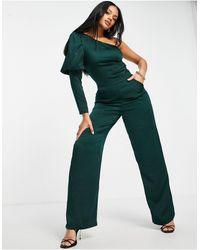 AX Paris One Shoulder Jumpsuit - Green