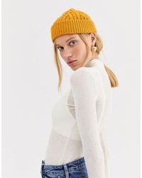 ASOS Recycled Cable Mini Fisherman Beanie Hat-yellow - Multicolour