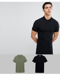 ASOS - Muscle Fit Pique Polo 2 Pack Save - Lyst