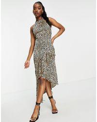 Lipsy Halter Neck Midi Dress - Multicolour