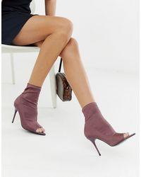 ASOS – Esther – Anliegende Stiefel mit offener Zehenpartie und Stilettoabsatz - Lila