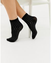 Pieces - Glitter Stripe Sock - Lyst