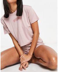 """Threadbare Розовый Комплект Из Футболки И Шорт В Стиле Casual С Принтом """"offline"""" -розовый Цвет"""