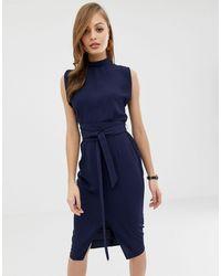 ASOS Split Sleeve Midi Dress With Obi Belt - Blue