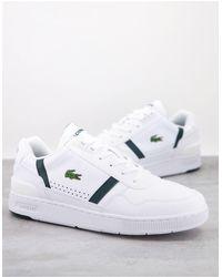 Lacoste - Белые Кроссовки С Зелеными Вставками И Т-образным Зажимом -белый - Lyst