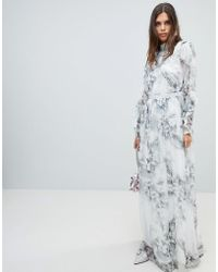 Y.A.S - Soft Floral Maxi Dress With Ruffle Sleeves - Lyst