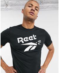 Reebok Training T-shirt With Large Logo - Black