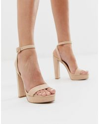 ASOS Nutshell Platform Barely There Heeled Sandals - Natural