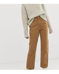 Weekday Row Slim Straight Jeans With Organic Cotton In Camel - Brown