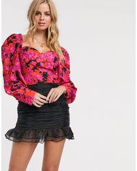 In The Style Топ-корсет С Пышными Рукавами И Цветочным Принтом X Fashion Influx-многоцветный