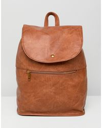 ASOS Soft Backpack With Zip Detail - Brown