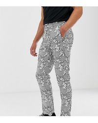 Heart & Dagger Slim Cropped Smart Trouser In Textured Floral - Black
