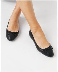 New Look Черные Балетки На Плоской Подошве -черный Цвет