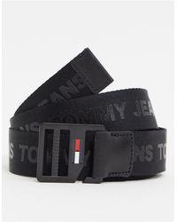 Tommy Hilfiger Черный Ремень С D-образным Кольцом И Логотипом