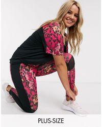 Simply Be Леггинсы С Леопардовым Принтом Activewear-розовый