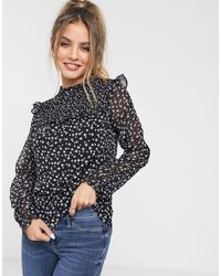 Oasis Ditsy Floral Print Shirred Blouse - Blue