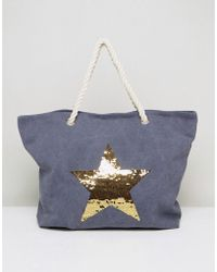 South Beach - Washed Blue Beach Bag With Gold Star - Lyst