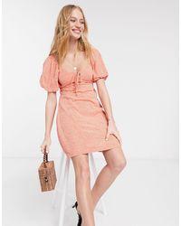 Warehouse Оранжевое Платье Мини С Цветочным Принтом -оранжевый - Многоцветный