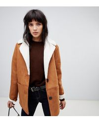 Stradivarius Aviator Jacket With Contrast Lining - Brown