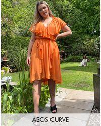 ASOS Asos Design Curve Cape Back Dipped Hem Midi Dress - Orange