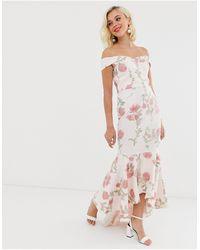 Chi Chi London Bardot Fishtail Maxi Dress - Multicolour