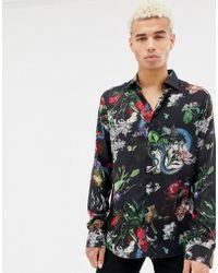 Criminal Damage - Shirt In Black With Animal Print - Lyst