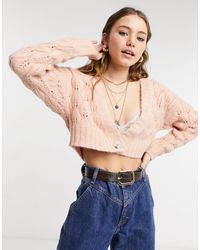 TOPSHOP Stitch Cropped Knitted Cardigan - Multicolor