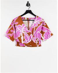 Liquorish Kimono Top Co-ord - Multicolour