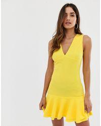 AX Paris - Желтое Облегающее Платье С Баской -желтый - Lyst