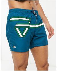 Lacoste Ribbon Print Light Quick-dry Swim Shorts - Blue