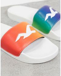 Hollister Pride - Mules arc-en-ciel avec logo - Blanc