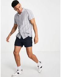 Abercrombie & Fitch Camicia a maniche corte con colletto rever a righe testurizzate blu