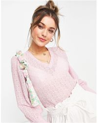 Pieces Volume Sleeve V-neck Lace Blouse - Pink