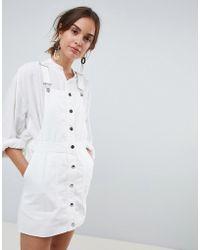Mango - Button Through Dungaree Dress In White - Lyst