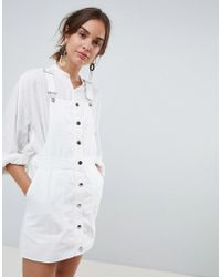 Mango - Button Through Overall Dress In White - Lyst