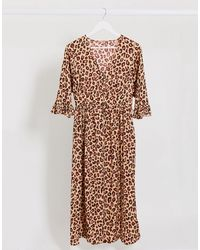Maison Scotch - Vestido midi con estampado animal y volantes - Lyst