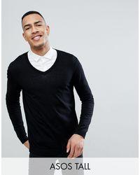 ASOS Tall Cotton V-neck Sweater - Black