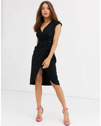 Lipsy Midi-jurk Met Overslag En D-ring - Zwart