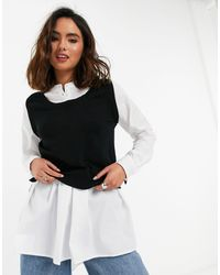New Look 2 In 1 Knitted Vest And Volume Sleeve Shirt In Black