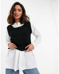 New Look Camicia con maniche voluminose e canotta - Nero