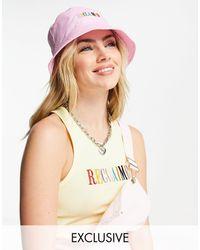 Reclaimed (vintage) Inspired - Cappello da pescatore con logo ricamato rosa