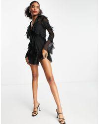 ASOS Bias Cut Ruffle Shirt Mini Dress - Black