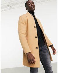 Bershka Шерстяное Бежевое Пальто -коричневый - Многоцветный