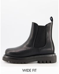 Truffle Collection Chelsea Boots Met Brede Pasvorm En Dikke Zool - Zwart