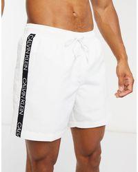 Calvin Klein Белые Шорты Для Плавания С Фирменной Лентой -белый