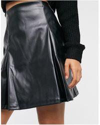 ASOS Pleat Leather Look Mini Skirt - Black