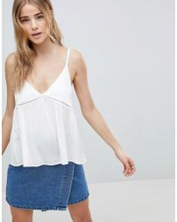 ASOS - Crinkle Cami With Lace Insert - Lyst