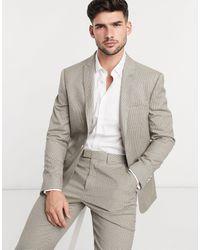 TOPMAN Slim Fit Pupstooth Suit Jacket - Brown