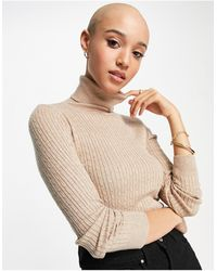 Stradivarius High Neck Sweater With Cable Knit Detail - Natural